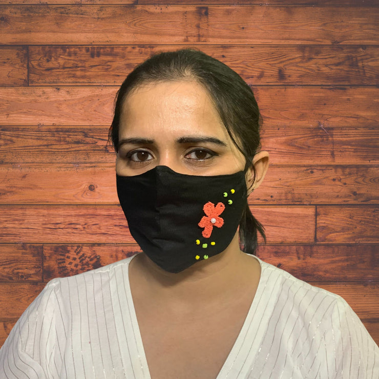 Signature Black Designer Face Mask