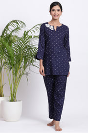 Blue Polka dot night wear for women