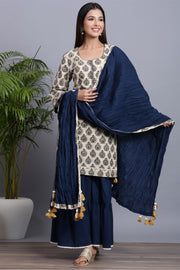 Gillori Handblock Kurta Shara set with crush dupatta