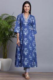 Gillori floral Indigo Kurta with Pants