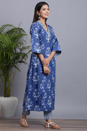 Gillori Indigo Kurti Pant Set cotton