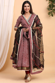 Gillori Handblock Suit Set with Dupatta