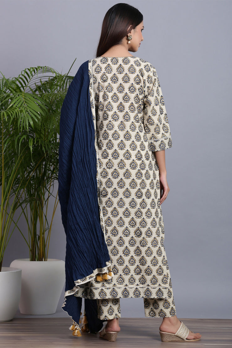 handblock suit set with dupatta