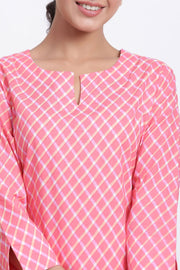 Pink night suit for women cotton