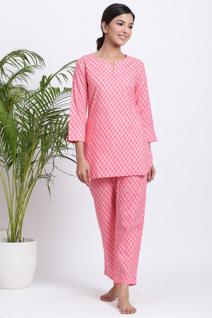 cotton night suit for women pink