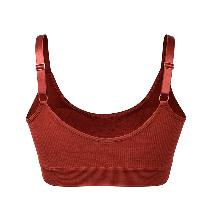 Seamless Sports Bra, Push Up Sports Top for fitness, Shockproof Running Gym Workout Bra