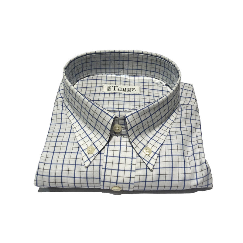 Blue and Black Check Button Down Shirt