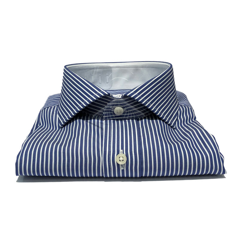 Blue and Fine White Cotton Shirt