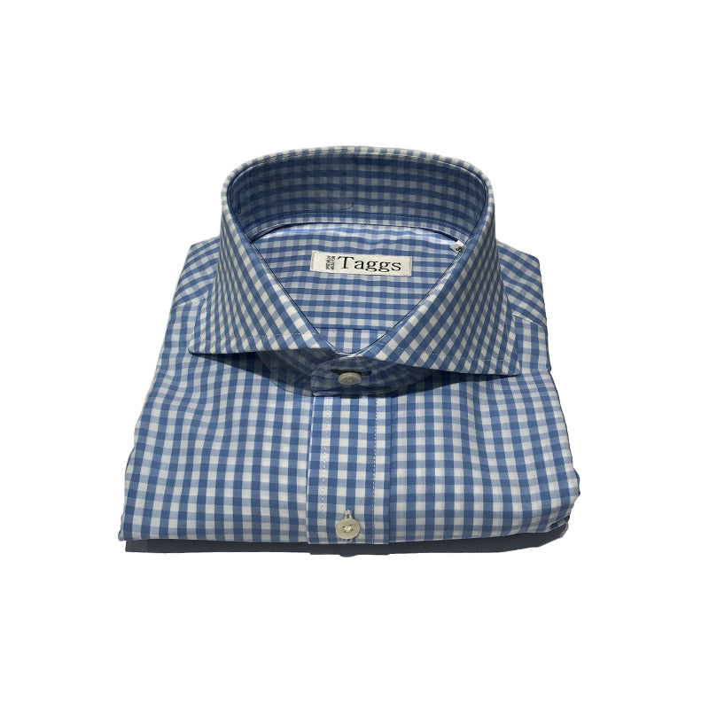 Blue and White Check Cutaway Collar Shirt