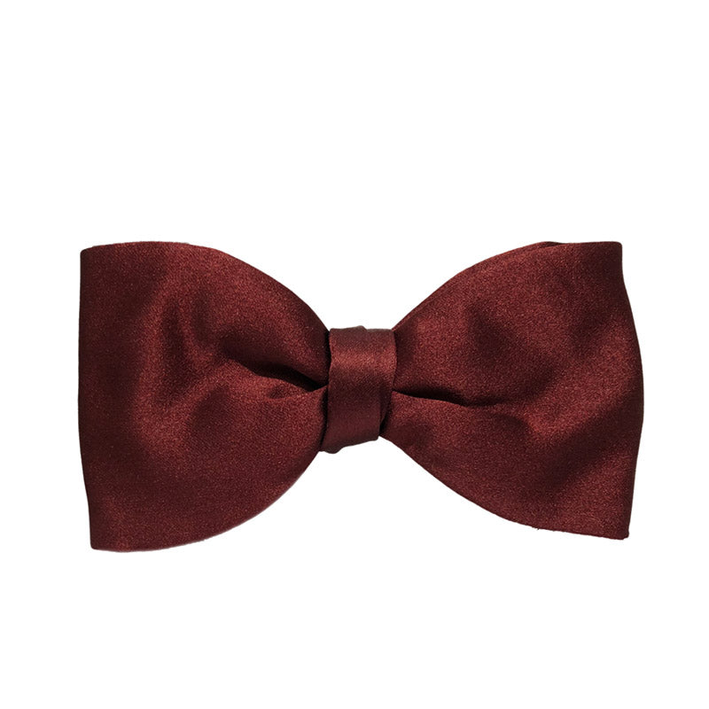 Burgundy Satin Silk Bow Tie
