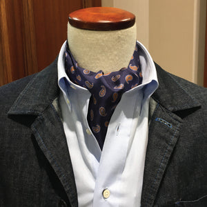 Navy and small paisley cravat
