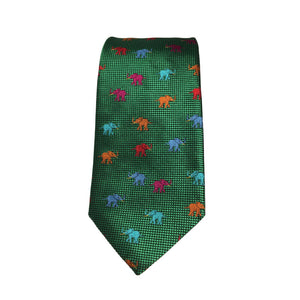 Elephant calf tie in green