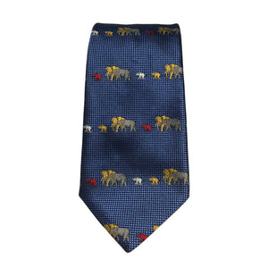Elephant family tie in royal blue