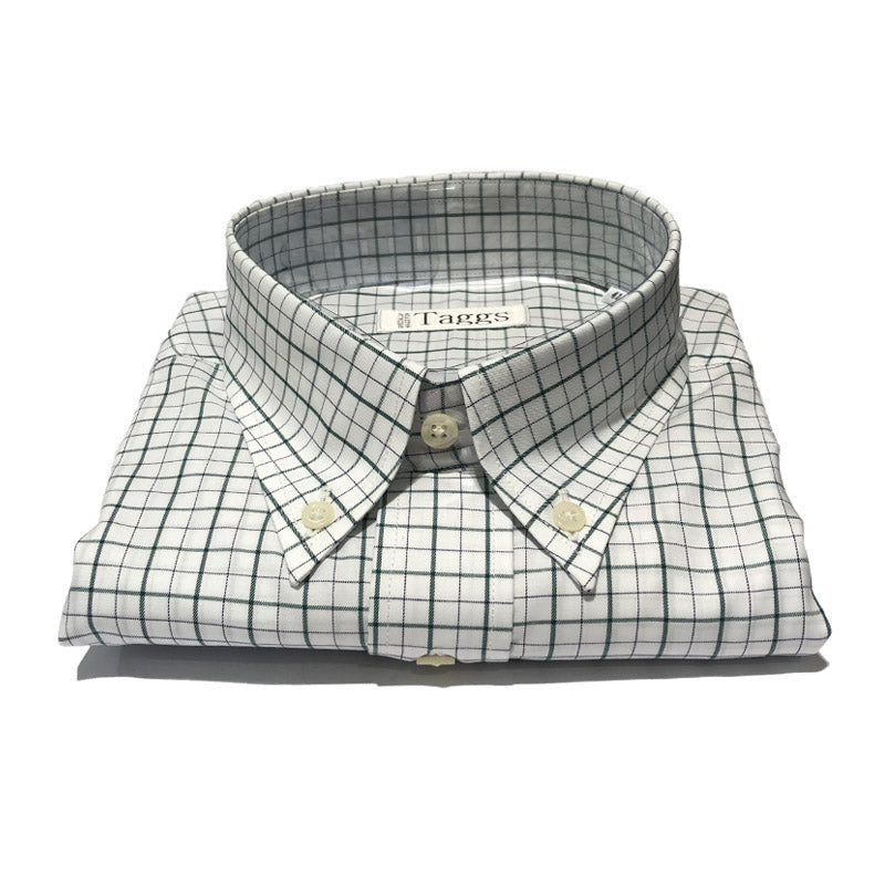 Green and Black Check Button Down Shirt