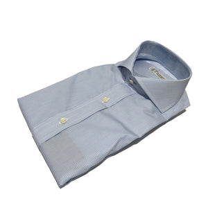 Light Blue and White Fine Stripe Cutaway Collar Shirt
