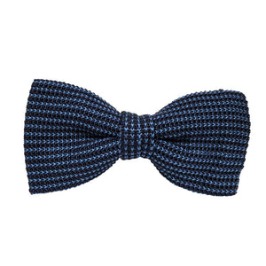 Navy and Light Blue Knitted Silk Bow Tie