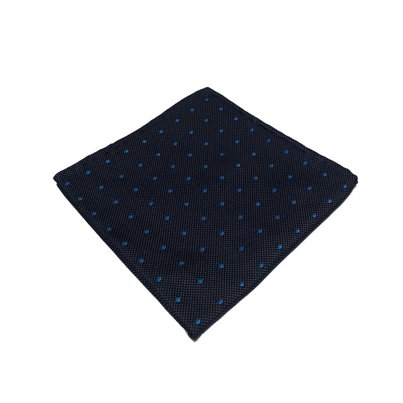Navy and Royal Blue Spotted Silk Handkerchief
