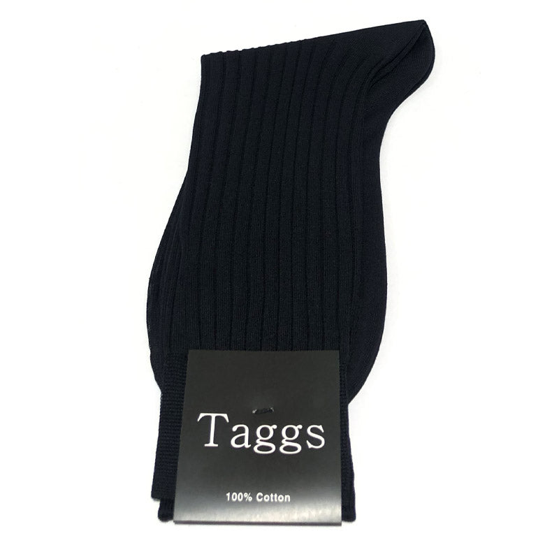 Short Hose Black Ribbed Cotton Socks