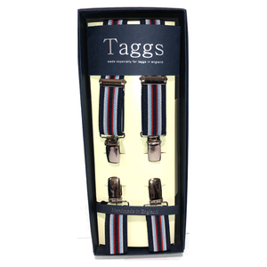 Navy, Red & White Clip End Suspenders