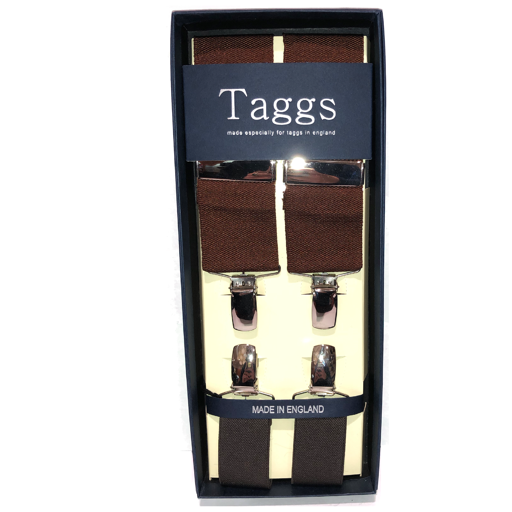 Brown Clip End Suspenders