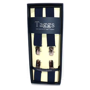Narrow Navy Clip End Suspenders