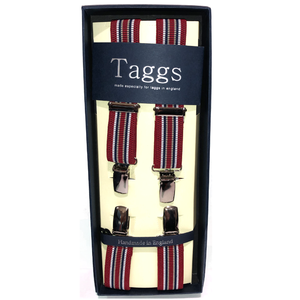 Narrow Navy & Red Stripes Clip End Suspenders
