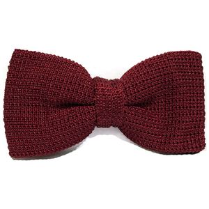 Silk Knitted Bow Tie Burgundy