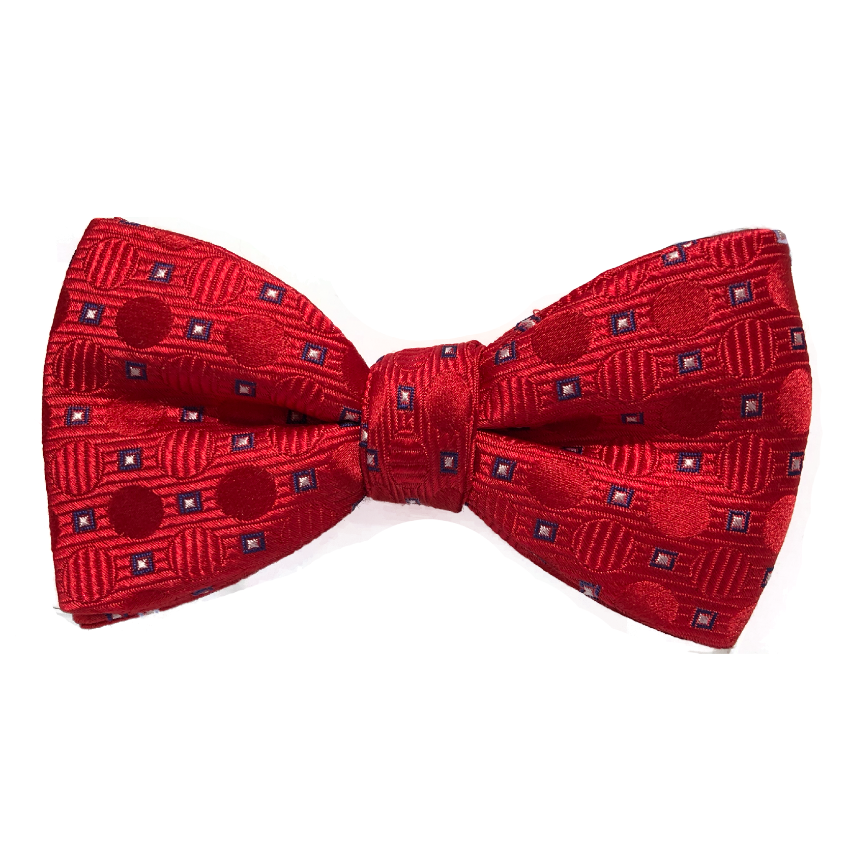 Silk Bow Tie Red and Blue Pattern