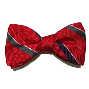 Silk Bow Tie Red with Navy & White Stripe