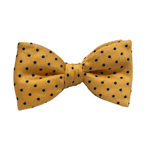 Yellow and Navy Spot Silk Bow Tie