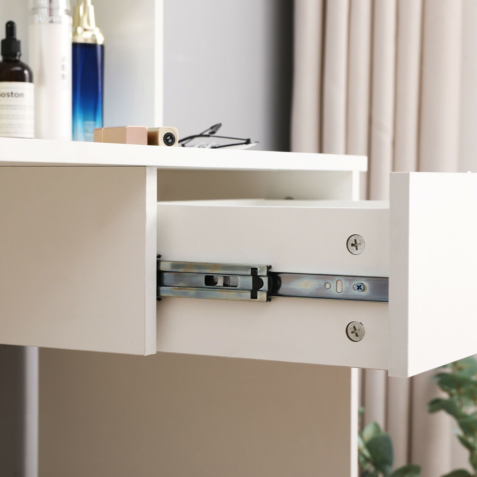 Modern Corner Dressing Table Makeup Desk With Drawer Mirror And Shelve Nayjay