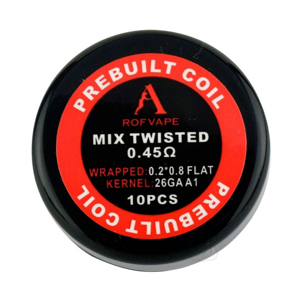 10PCS-PACK Rofvape Mix Twisted Prebuilt Coils 0.45 Ohm (0.2*0.8+26GA)
