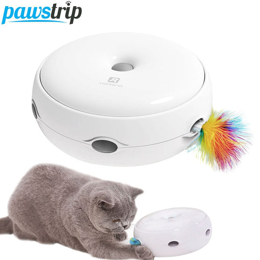 Electric Cat Toys Feather Smart Teasing Cat Stick Play Crazy Game Cat Scracth Toys For Cats Donut Automatic Turntable Cat Toy