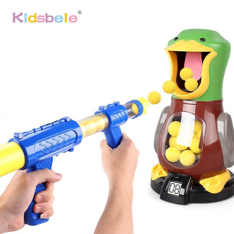 Soft Foam Ball Gun Shooting Game Toys For Children Indoor Interactive Novel Toys Duck Air Pump Powered Kids Gun