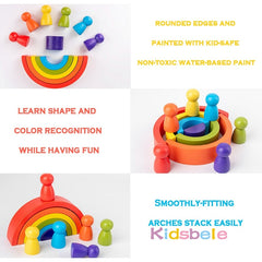 Wood Stacking Rainbow Blocks Toys Kids Montessori Educational