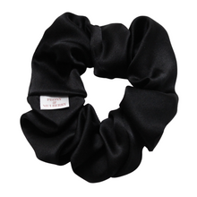 Load image into Gallery viewer, Luxury Midi Black Hair Scrunchie - Pure 100% Mulberry Silk 22 Momme