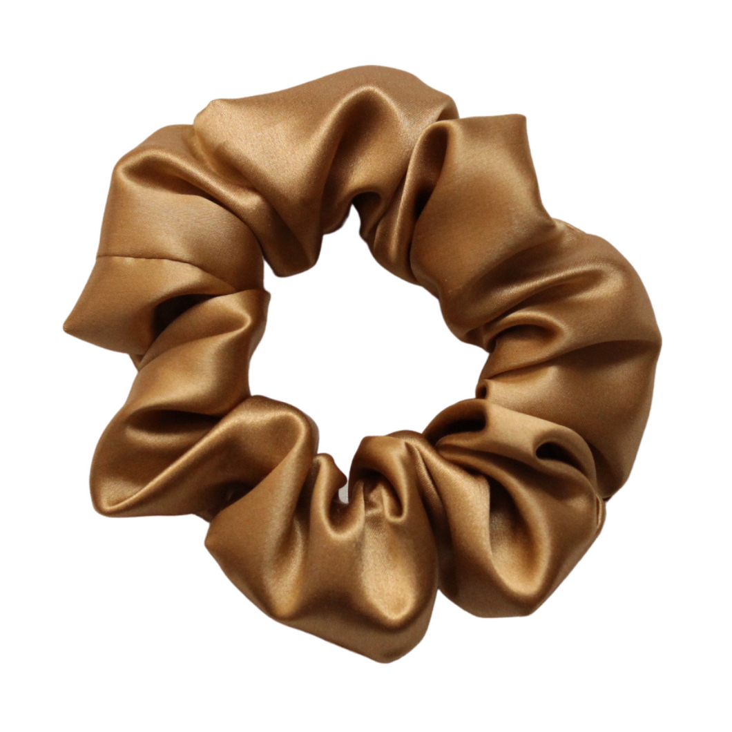 Luxury Midi Gold Hair Scrunchie - Pure 100% Mulberry Silk 22 Momme