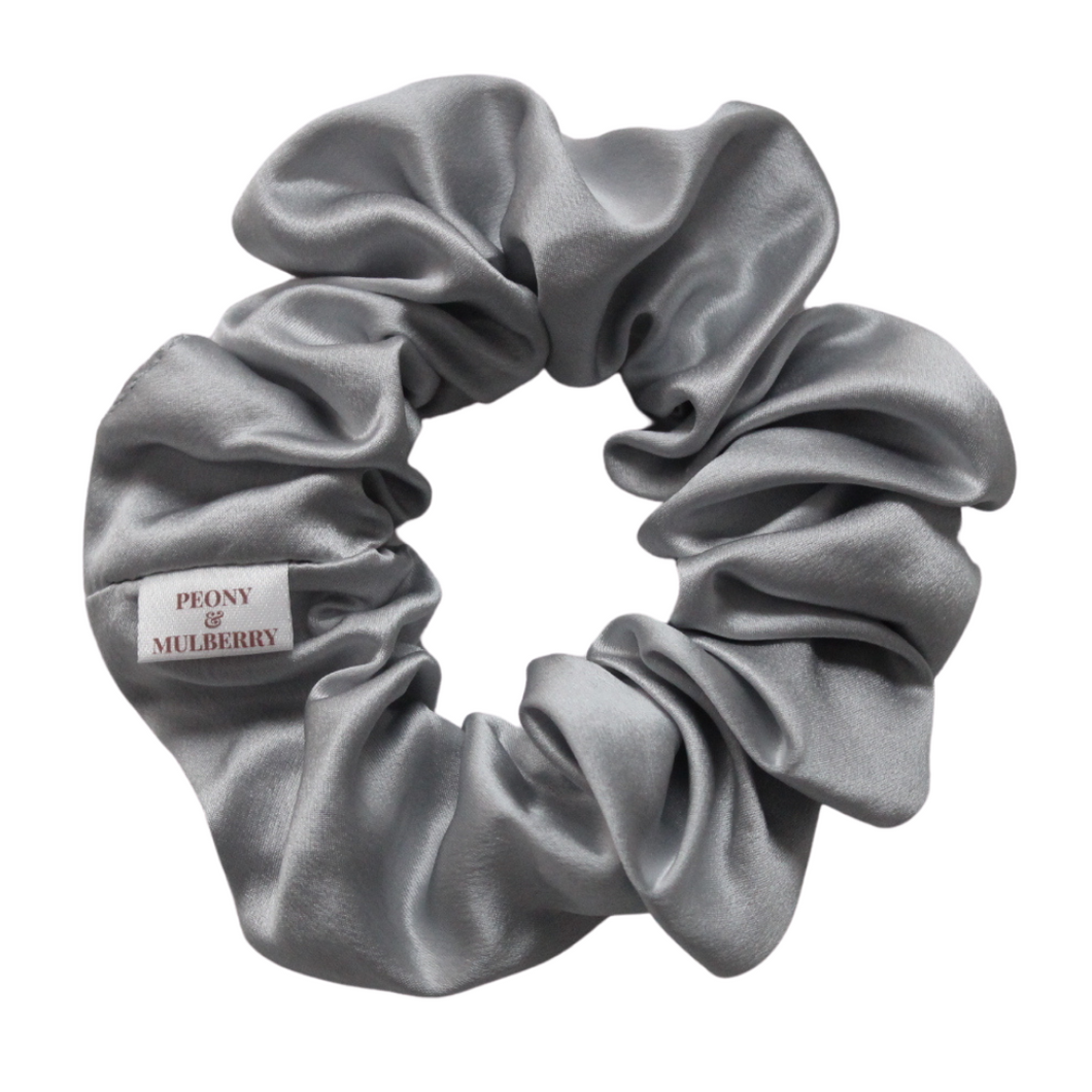 Luxury Midi Grey Hair Scrunchie - Pure 100% Mulberry Silk 22 Momme