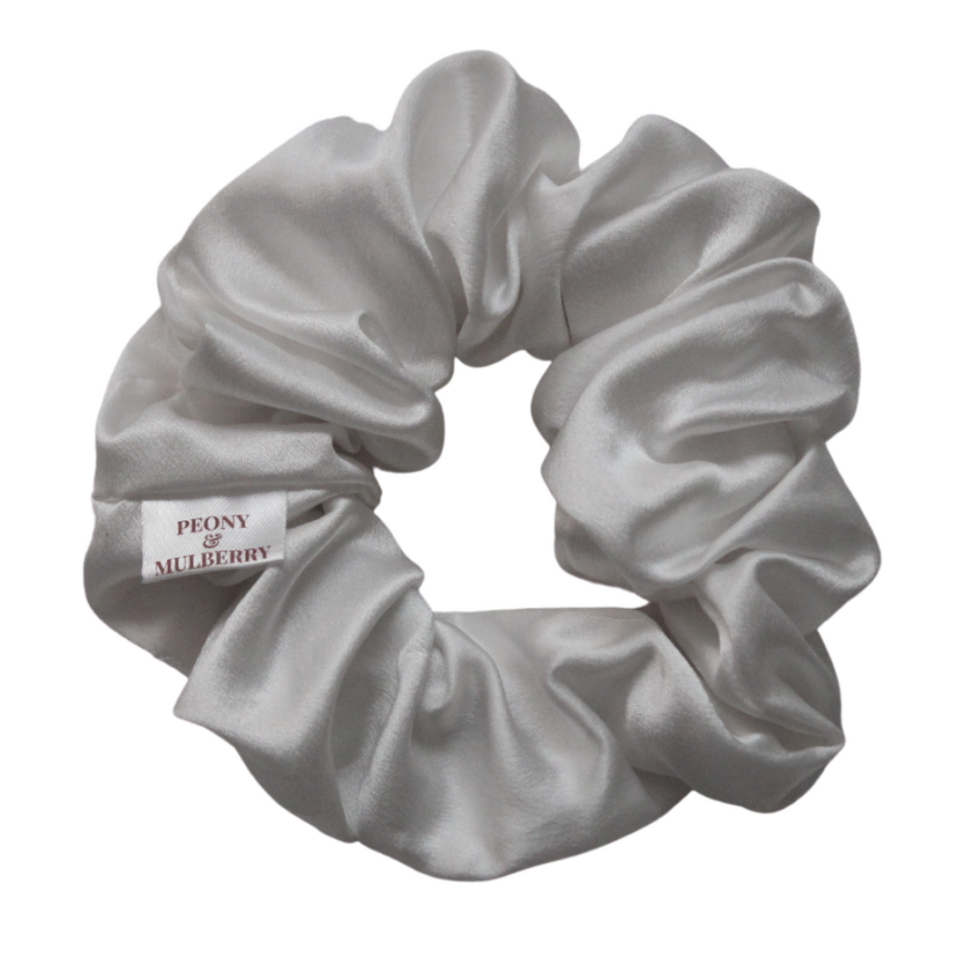 Luxury Midi White Hair Scrunchie - Pure 100% Mulberry Silk 22 Momme