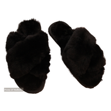 Load image into Gallery viewer, Luxurious Australian Sheep Skin Slippers in Black