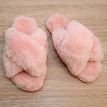 Load image into Gallery viewer, Luxurious Australian Sheep Skin Slippers in Blush Pink