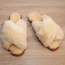 Load image into Gallery viewer, Luxurious Australian Sheep Skin Slippers in Ivory