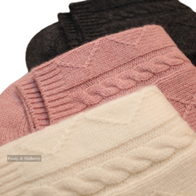 Load image into Gallery viewer, Luxurious Cable Design Pure Cashmere Ankle Socks In Peony