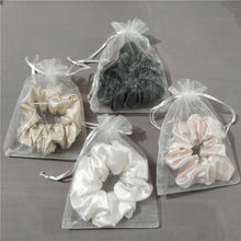 Load image into Gallery viewer, Luxury Midi White Hair Scrunchie - Pure 100% Mulberry Silk 22 Momme