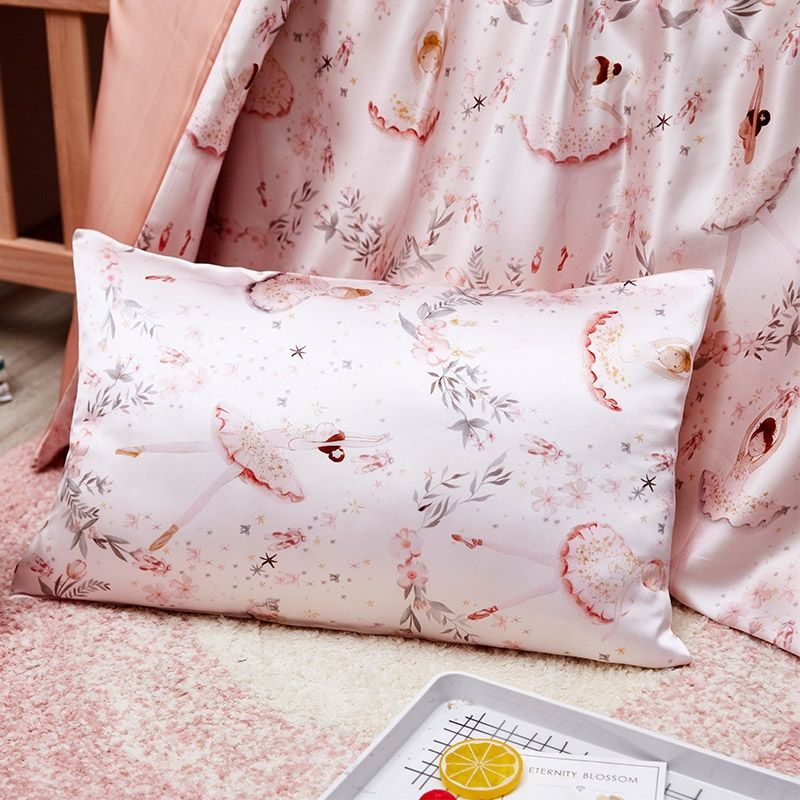 Childrens Luxury Pink Ballerina Design Pillowcase - Pure 100% Mulberry Silk