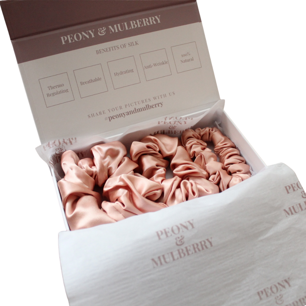 Luxury Blush Pink Hair Scrunchies GIFT BOX SET Pure 100% Mulberry Silk 22 Momme