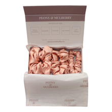 Load image into Gallery viewer, Luxury Blush Pink Hair Scrunchies GIFT BOX SET Pure 100% Mulberry Silk 22 Momme