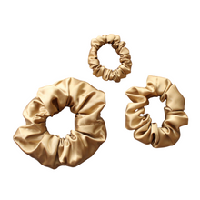 Load image into Gallery viewer, Luxury Gold Hair Scrunchies GIFT BOX SET Pure 100% Mulberry Silk 22 Momme