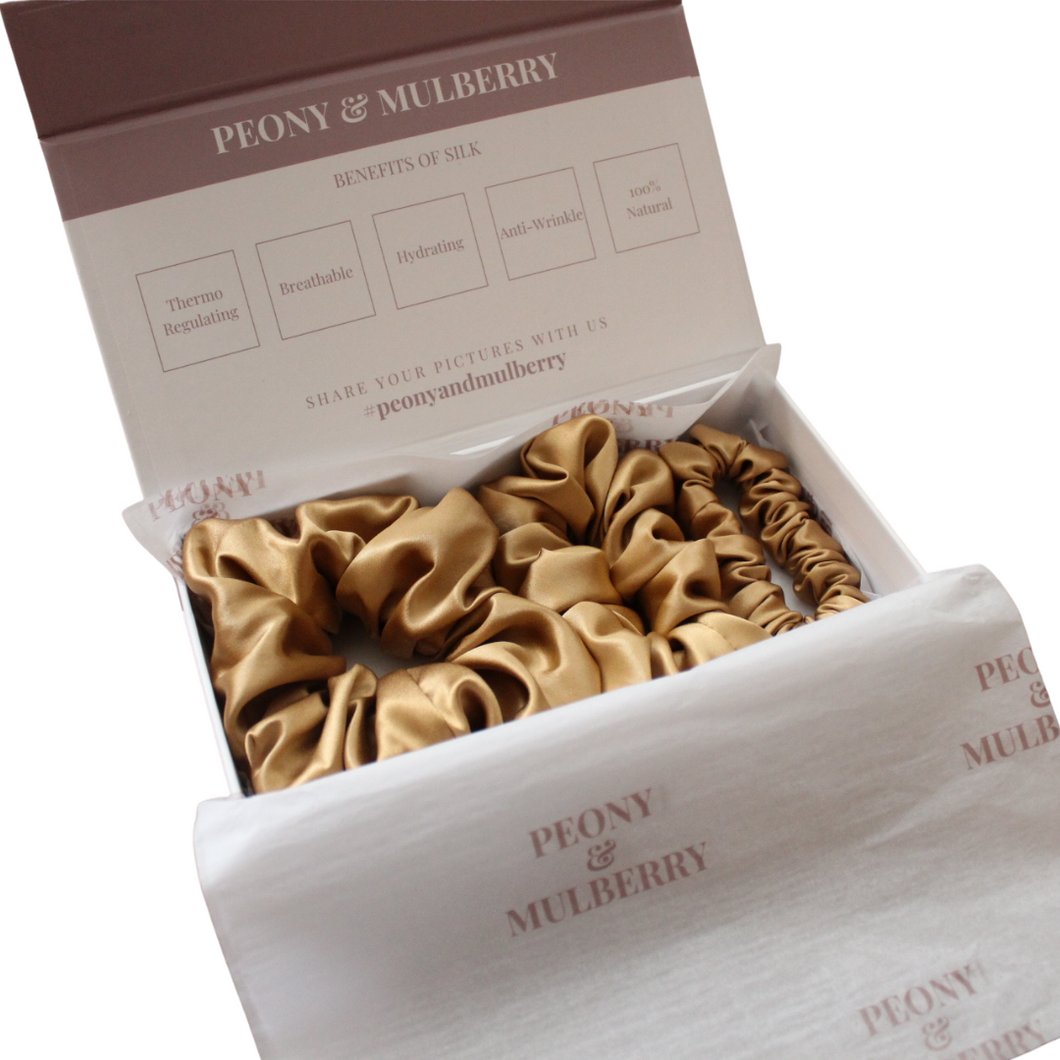 Luxury Gold Hair Scrunchies GIFT BOX SET Pure 100% Mulberry Silk 22 Momme