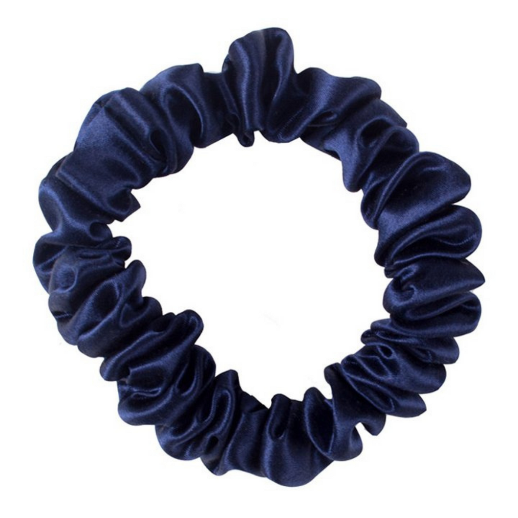 Luxury Mini Navy Blue Hair Scrunchie - Pure 100% Mulberry Silk 22 Momme